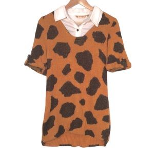 Vintage Leopard Animal Print So Soft Short Sleeve Sweater with Collar Shirt